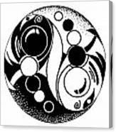 Yin And Yang Fish Design Canvas Print