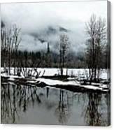 Yosemite River View In Snowy Winter Canvas Print