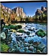 Yosemite Rocks In River Canvas Print