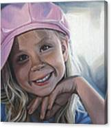 Young Girl In Pink Hat Canvas Print