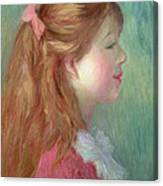 Young Girl With Long Hair In Profile Canvas Print