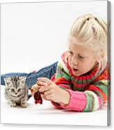 Young Girl With Silver Tabby Kitten Canvas Print