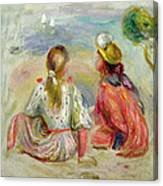 Young Girls On The Beach Canvas Print