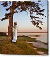 Young Lady In Edwardian Clothing By The Sea Canvas Print