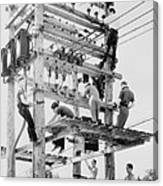 Young Men Working On Telephone Poles Canvas Print