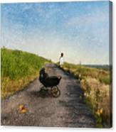 Young Woman And Baby Buggy On Dirt Road  Canvas Print