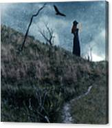 Young Woman On Creepy Path With Black Birds Overhead Canvas Print