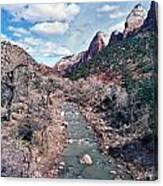 Zion Virgin River In Winter Canvas Print