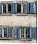 Zurich Window Shutters Canvas Print
