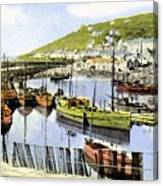 1900 Harbour View Mousehole Cornwall England Canvas Print
