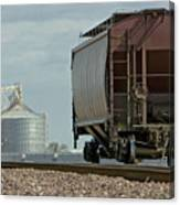 A Lone Grain Hopper Stands Idle On The Tracks Canvas Print