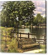 A Seat By The Thames Canvas Print