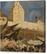 A Venetian Flower Market Canvas Print