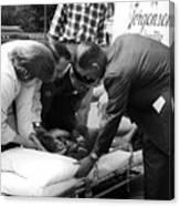 Ambulance Personnel Placing Girl Gurney April Canvas Print