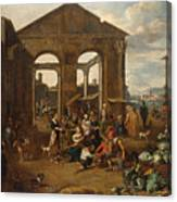 An Italianate Market Scene Canvas Print