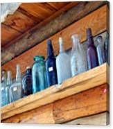 Antique Bottles Blues Canvas Print