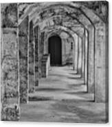 Archway At Moravian Pottery And Tile Works In Black And White Canvas Print