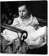 Baby In Chair 1910s Black White Archive Boy Kids Canvas Print