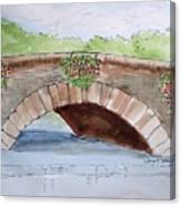 Baskets Of Flowers On Bridge To Westport Ireland Canvas Print