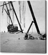 Beached Sailing Ship Circa 1900 Black White Canvas Print