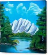 Blue Lake Mirror Reflection Dreamy Mirage Canvas Print