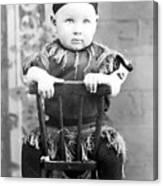 Boy Dressed Elf Sitting Backwards In Chair 1890s Canvas Print