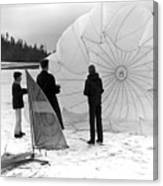 Boys Frozen Lake Parachute Sailboard Circa 1960 Canvas Print