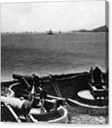Cannons In Fort Aimed Harbor Circa 1865 Black Canvas Print