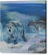 Carved Ice Polar Bears Canvas Print