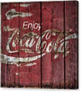 Coca Cola Sign Barn Wood Canvas Print