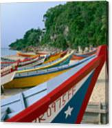 Colorful  Fishing Boats On Crashboat Beach Canvas Print