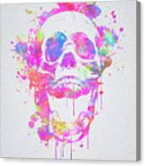 Cool And Trendy Pink Watercolor Skull Canvas Print