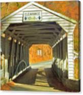 Covered Bridge Watercolor  Canvas Print