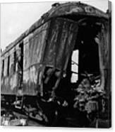 Exploded Train Car Robbery October 1923 Black Canvas Print