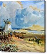 Figures Approaching A Windmill Canvas Print