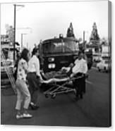 Fire Department Rescue Circa 1960 Black White Canvas Print