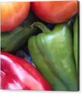 Fresh Peppers And Tomatoes Canvas Print