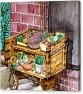 Fruit And Vegetable Stand In Nice, France Canvas Print
