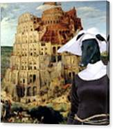 Galgo Espanol - Spanish Greyhound Art Canvas Print -the Tower Of Babel  Canvas Print