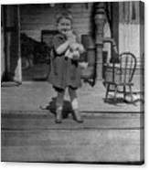 Girl Hugging Stuffed Animal Porch 1920s Black Canvas Print