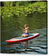Girl In Canoe Canvas Print