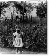 Girl Tomato Patch 1950s Black White Archive Kids Canvas Print