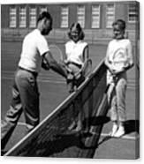 Girls Getting Tennis Lesson Circa 1960 Black Canvas Print