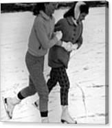 Girls Ice Skating Circa 1960 Black White 1950s Canvas Print