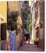 Greece. Venetian Street In Corfu Old Town. Canvas Print