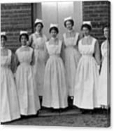 Group Nurses 19151916 Black White 1910s 1915 Canvas Print