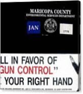 Gun Control Decal Black Canyon City Arizona 2004 Canvas Print