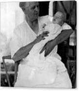 Holding Baby 1927 Black White 1920s Archive Boy Canvas Print