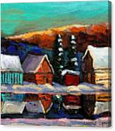 Laurentian Landscape Quebec Winter Scene Canvas Print
