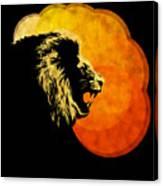 Lion Illustration Print Silhouette Print Night Predator Canvas Print